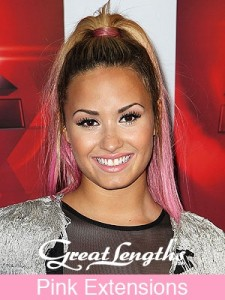 Demi Lovato wearing Pink Ombre Great Lengths Extensions